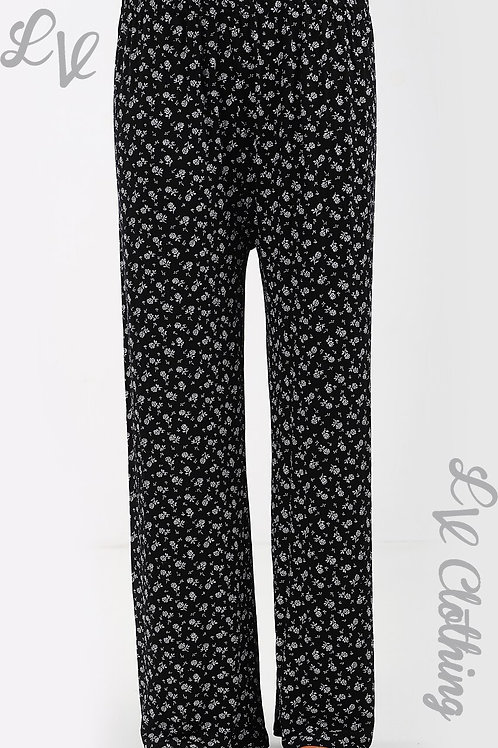 Ditsy Flower Stem Print Trousers Wide Leg - Black