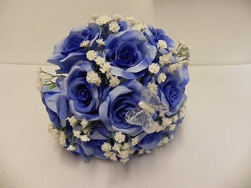 Silk Blue Rose & Gypsophila Brides Bouquet