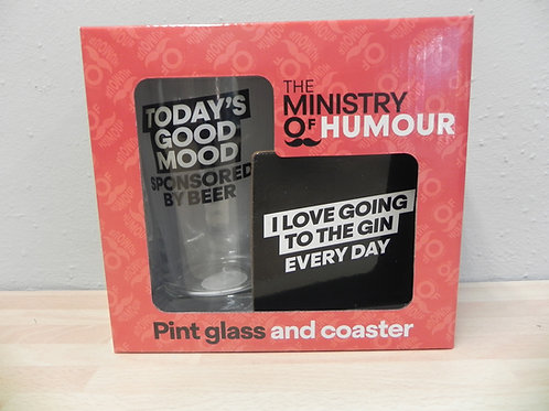 Ministry of Humour Beer Glass & Coaster