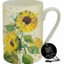 Bug Art Sunflower Embossed Fine China Mug