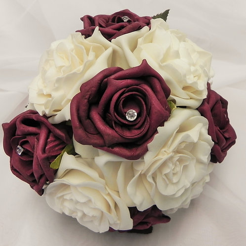 Ivory & Burgundy Wedding Bouquet