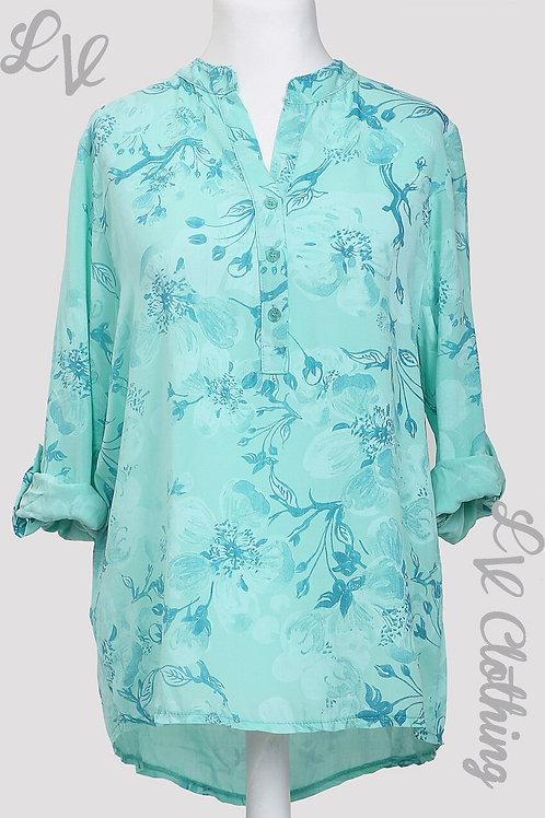 Leaf & Floral Print Shirt - Aqua
