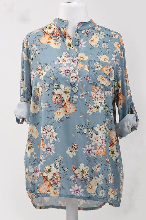 Mixed Floral Print Shirt - Tiffany
