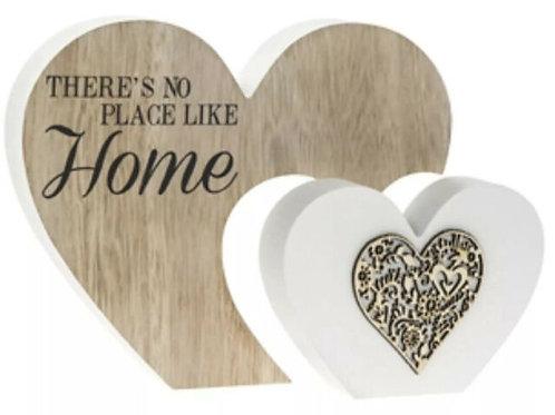 Home Double Heart Sentiment Plaque