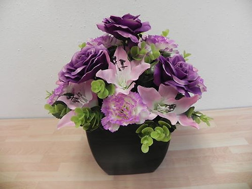 Artificial Purple Rose & Lily Arrangement