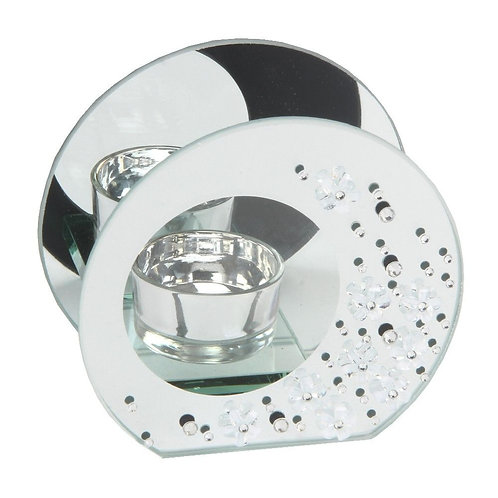 Mirrored Glass Crystal Tealight Holder - Round