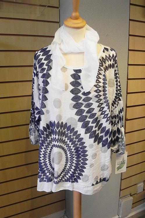 Italian African Circle Print Scarf Top - White