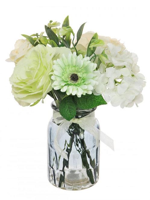 Mixed Rose, Hydrangea & Gerbera Arrangement - Green/Cream