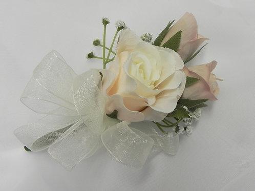 Dusky Pink & Ivory Rose Corsage