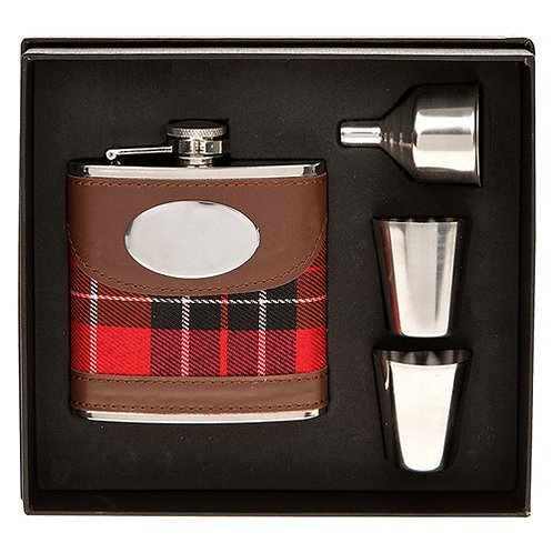 Tartan Hip Flask Set
