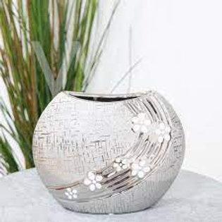 Gunmetal Ceramic Vase with White Flowers - 16cm