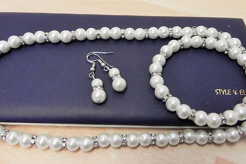 Ivory Pearl & Crystal 3 piece Jewellery Set