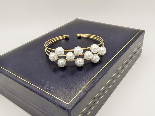 Triple Row Bangle with Pearls - GP2