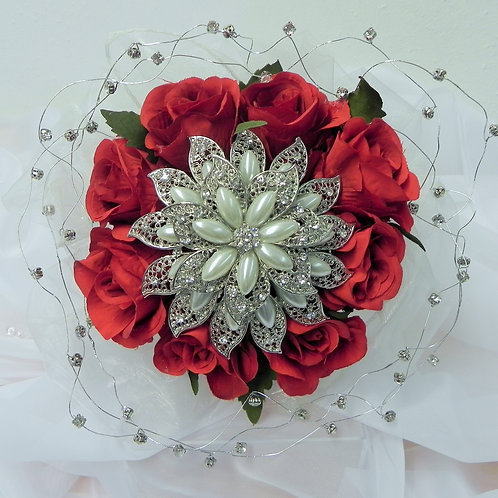Red Rose Brooch Wedding Bouquet
