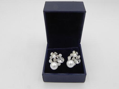 Diamante & Pearl Flower Stud Earrings