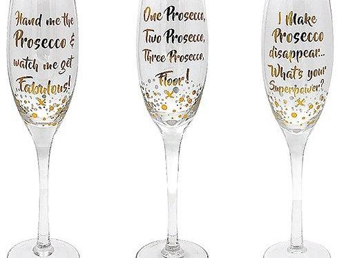 Gold Words Prosecco Glasses