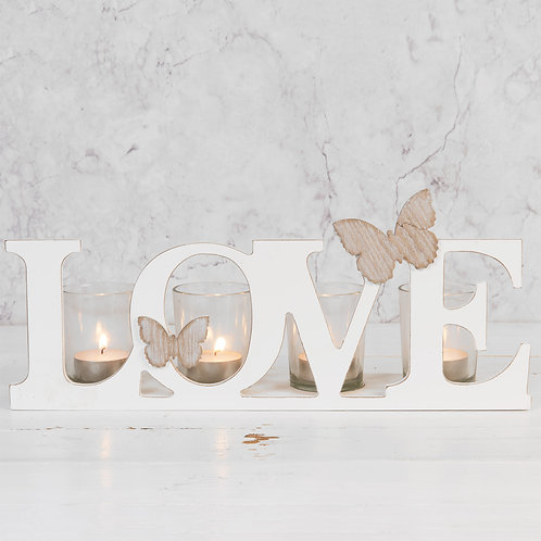 Wooden Candle Holder 'Love'