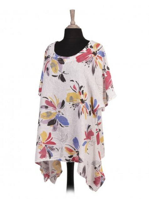 Floral Print Linen Tunic Top - White