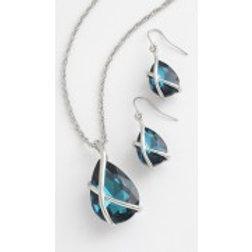 Tide Jewellery - Blue Glass Crystal Necklace & Earring Set