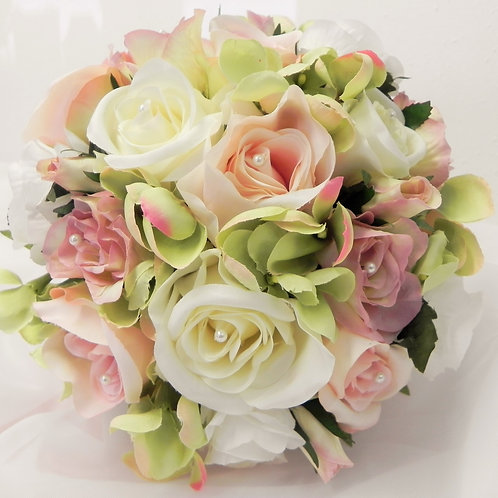Vintage Pink & Cream Rose Brides Bouquet