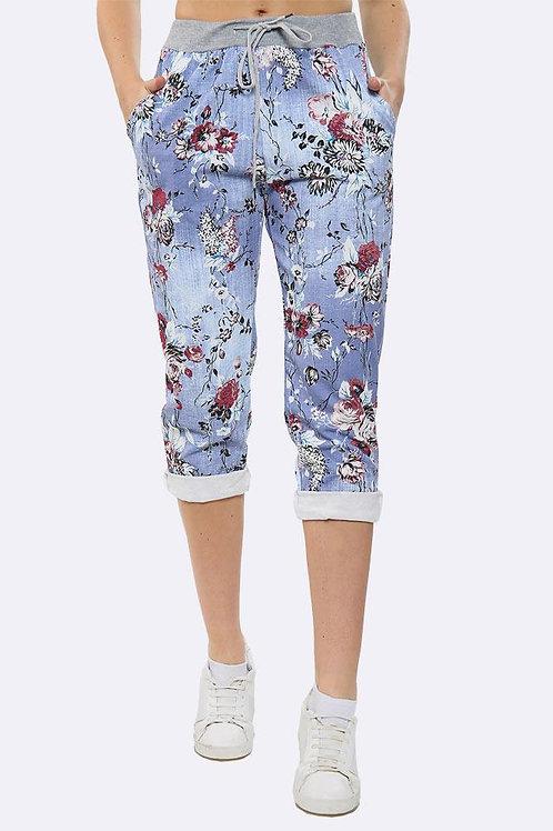 Cotton Floral Print Foldover Hem Trouser