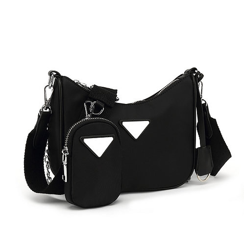 Black Nylon Cross Body Bag