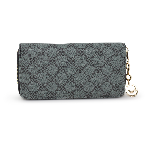 Clover Print Zip Around Purse - Black
