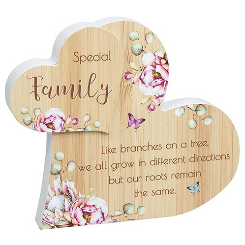 Vintage Floral Standing Heart - Family