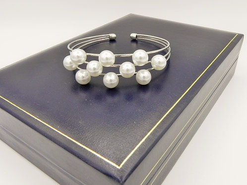 Triple Row Bangle with Pearls - SP2