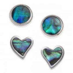 Tide Jewellery - 2 Pairs of Blue & Paua Shell Stud  Earrings