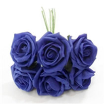 FOAM ROSE ROYAL BLUE BUNCH OF 6