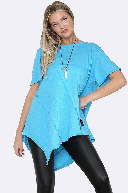 Italian Asymmetic Cotton Necklace T-shirt - Turquiose