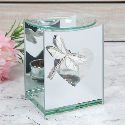 Mirror Glass Tealight Oil Burner with Dragonfly