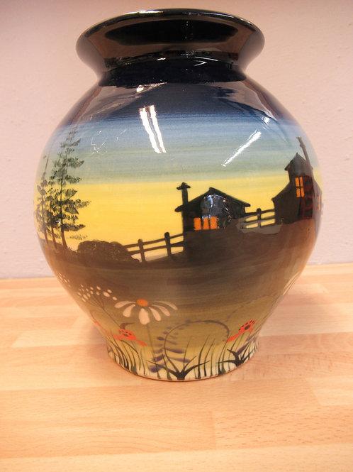 Rachel Frost Pottery Concave Vase - Rural Scene Blue