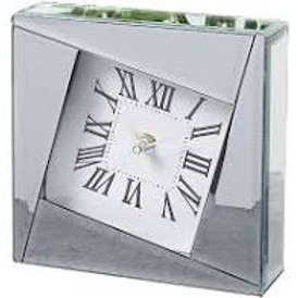 Silver Mirror Glass Mantel Clock