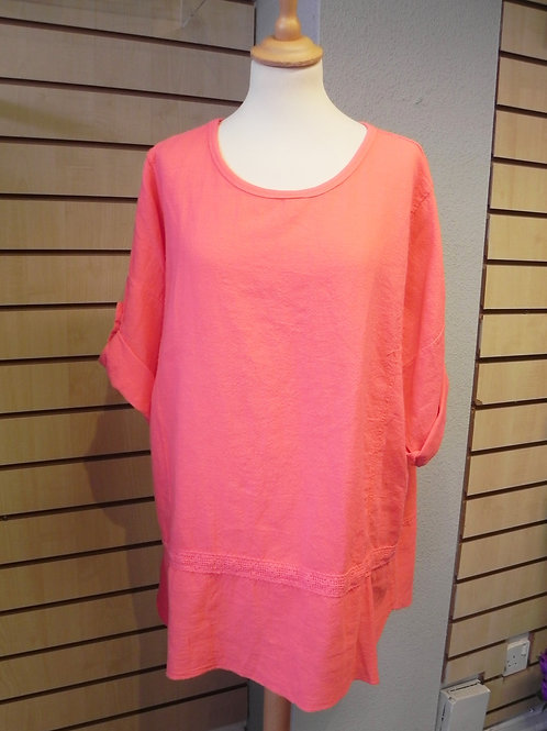 Italian Plain Panelled Lace Top - Coral