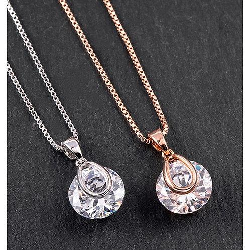 Equilibrium Crystal Drop Necklace
