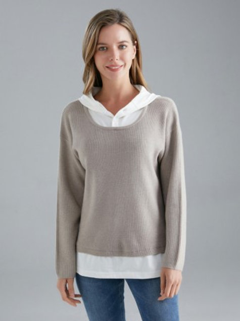 Italian Shirt Insert Hooded Knitted Jumper - Grey
