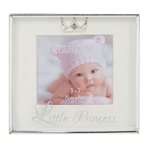 Silver Plated Little Princess 3x3 Box Photo Frame