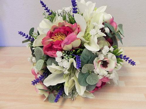 Silk Lily & Peony Brides Bouquet