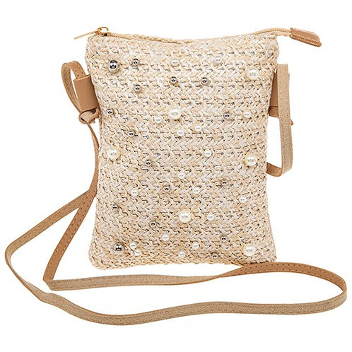 Pearl Embelished Straw Clutch Bag Cream