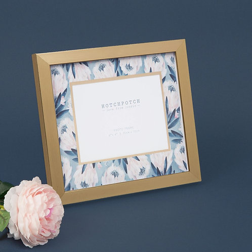 "6"" x 4"" - Swan Lake Gold & Blue Floral Photo Frame"