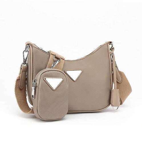 Taupe Nylon Cross Body Bag