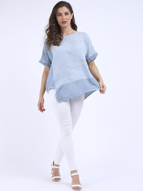 Made In Italy Stone Wash Asymmetric Hem Baggy Linen Tunic Top