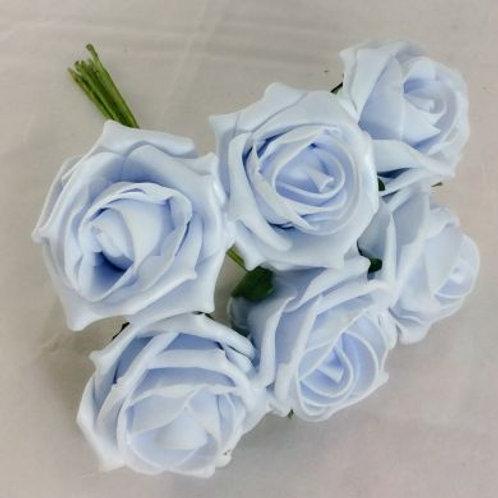 FOAM ROSE BABY BLUE BUNCH OF 6