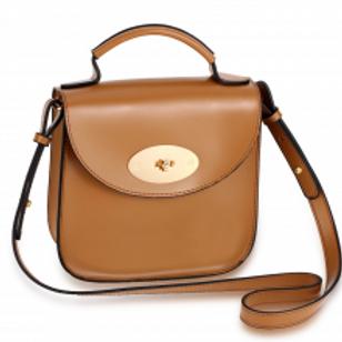 Flap Twist Lock Cross Body Bag - Khaki