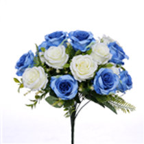 Rose Bush Blue & Ivory