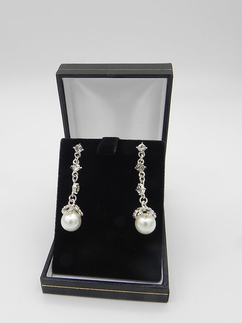 Diamante & Pearl-Style Drop Earrings