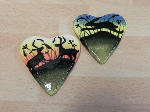 Rachel Frost Pottery Fridge Magnet - Hares