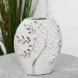 Silver Electroplated Tree Ceramic Oval Vase - 20cm